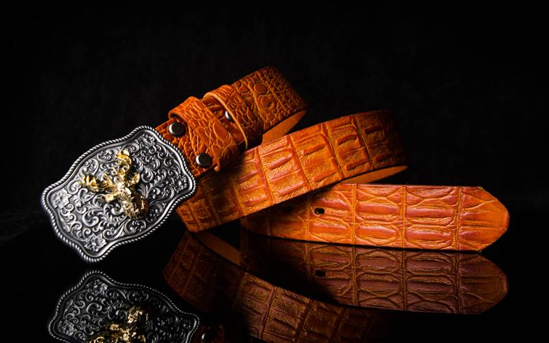 Handmade Genuine Leather Punk Rock Western Country Chinese Floral Deer Mens Cool Men Biker Trucker Leather Belt
