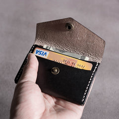Handmade Leather Mens Cool Short Wallet Card Holder Small Card Slim Wallets for Men