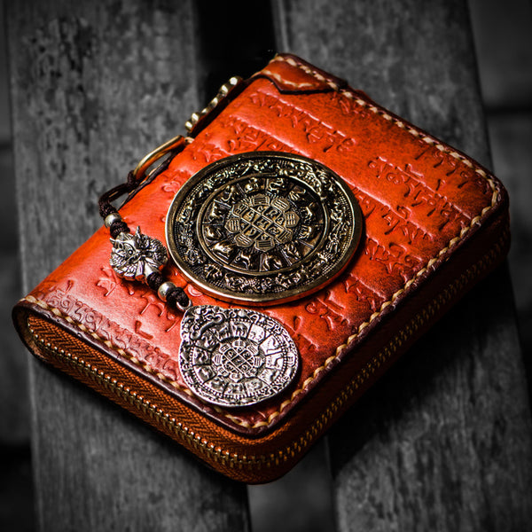 Handmade Leather Tibetan Mens billfold Wallet Cool Chain Wallet Biker Wallet for Men