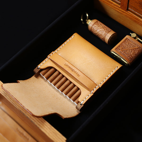 Cool Wooden Beige Leather Mens 10pcs Cigarette Case Custom Cigarette Holder for Men
