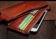 Genuine Leather Mens Cool Long Leather Wallet Card Wallet Clutch Wristlet Wallet for Men