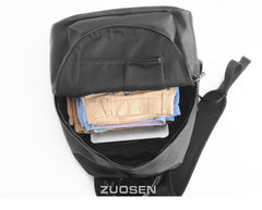 Mens Cool Leather Backpack Black Travel Backpack 15'' Computer School Backpack for Men