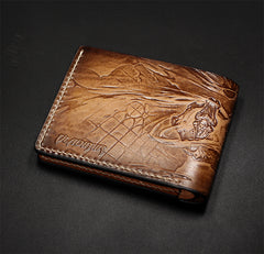 Handmade Leather Tooled League of Legends LOL Vladimir The Crimson Reaper Mens Short Wallet Cool Leather Wallet Slim Wallet for Men