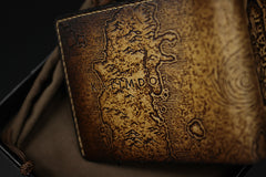 Handmade Leather Tooled World of Warcraft Lich King Mens billfold Wallet Cool Leather Wallet Slim Wallet for Men