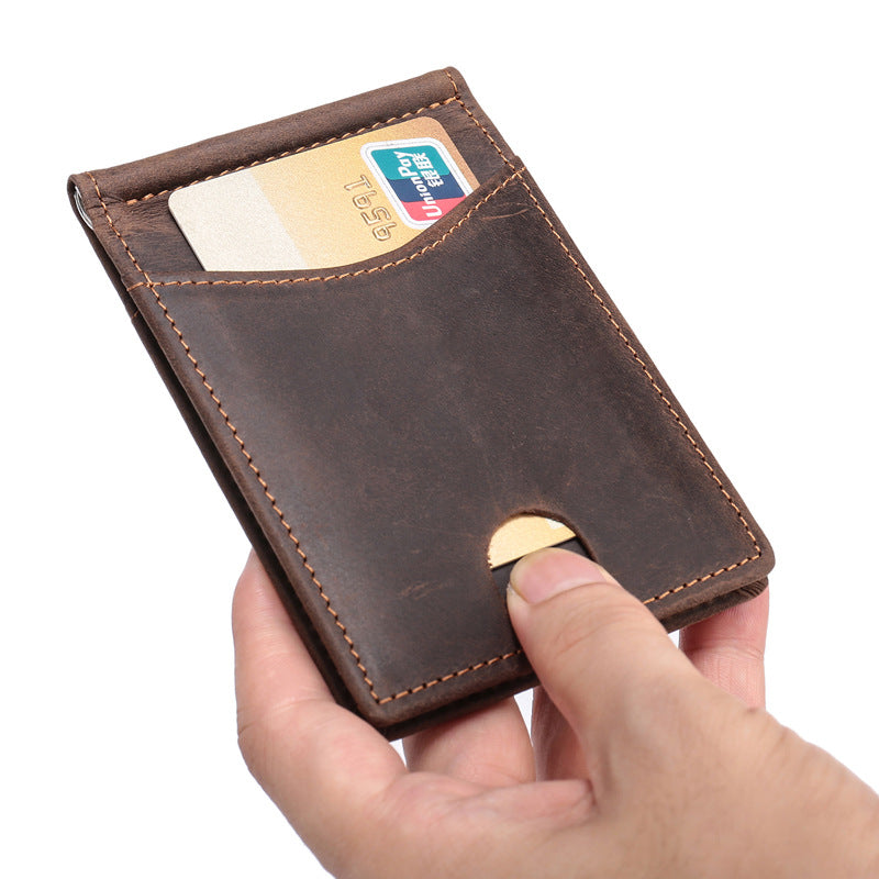 Handmade Leather Money Clip Mens Cool Short Wallet Card Holder Small Card Slim Wallets for Men