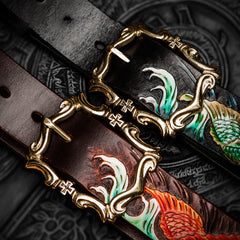 Handmade Genuine Leather Tooled Carp Mens Belt Custom Cool Leather Men Belt for Men