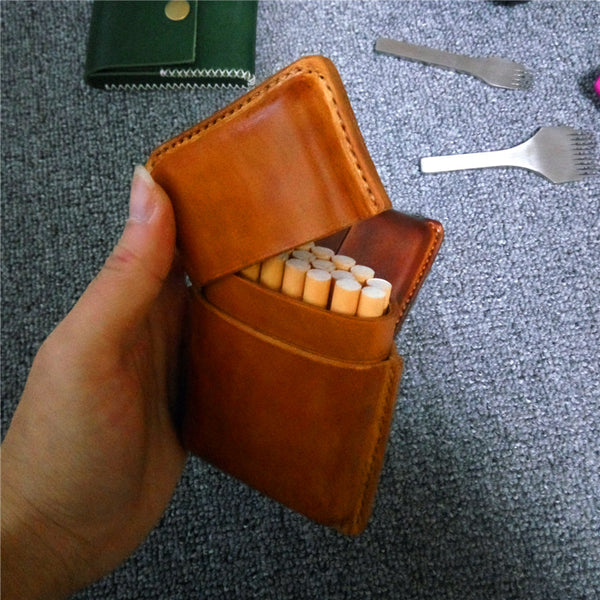 Cool Leather Mens Cigarette Holder Case Vintage Custom 20pcs Cigarette Case for Men