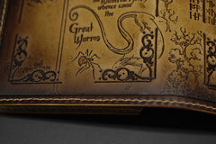 Handmade Leather Tooled Hobbit Mens Long Wallet Cool Leather Wallet Clutch Wallet for Men