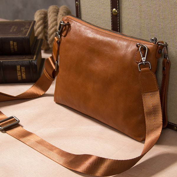 Leather Mens Clutch Wristlet Bag Brown Shoulder Bag Zipper Clutch for Men