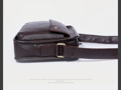 Genuine Leather Mens Cool Messenger Bag Small Bag Chest Bag Bike Bag Cycling Bag for men