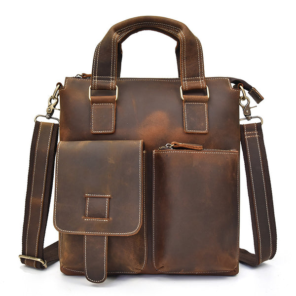 Cool Vintage Mens Leather Briefcase Business Briefcase Shoulder Bags For Men