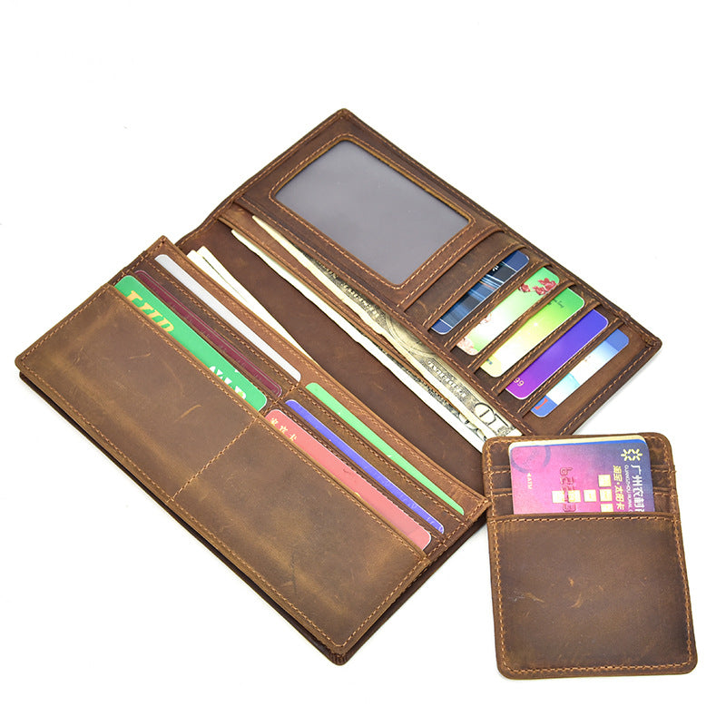 Handmade Leather Mens Cool Long Leather Wallet Passport Wallet Travel Wallet for Men