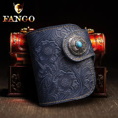 Handmade Leather Floral Mens Cool Biker Wallet Leather Wallet Men Short Wallets Bifold for Men
