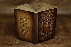 Handmade Leather Tooled Christian Jesus Mose Notebook Journal Travel Book Diary