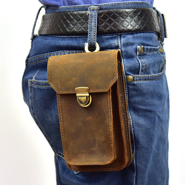 MEN LEATHER Belt Pouch WAIST BAG HIP PACK BELT BAG CELL PHONE HOLSTERS