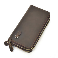 Handmade Leather Mens Cool Long Leather Wallet Zipper Wristlet Bag Clutch Wallet for Men