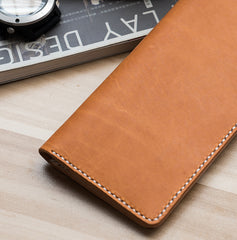 Handmade Leather Mens Clutch Wallet Cool Leather Wallet Long Phone Wallets for Men Women