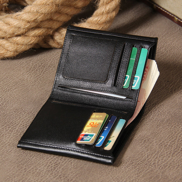 Leather Mens Cool Slim Short Leather Wallet Men Small Wallets Bifold for Men