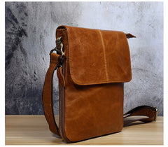 Genuine Leather Mens Cool Small Messenger Bag Square Bag Chest Bag Bike Bag Cycling Bag for men