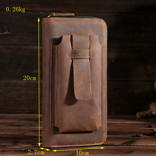 Handmade Leather Mens Cool Long Leather Phone Wallet Zipper Clutch Wallet for Men