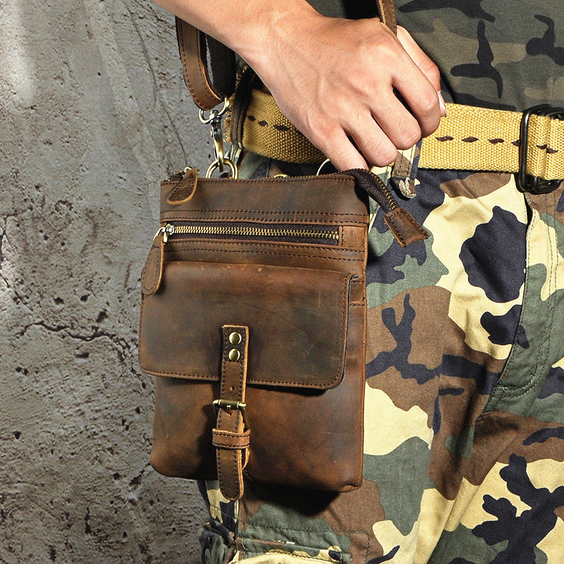 e822569548a3 Leather Belt Pouch Mens Small Cases Waist Bag Hip Pack Belt Bag Fanny Pack  Bumbag for