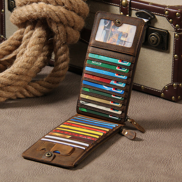 Leather Mens Clutch Vintage Coffee Brown Multi Card Phone Wallet for Men