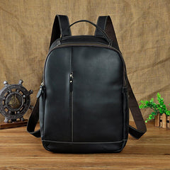 Cool Leather Mens Black Backpack for School Backpack Travel Backpacks For Men