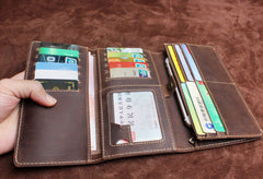 Handmade Leather Mens Wallet Cool Long Leather Wallet Clutch Wristlet Wallet for Men