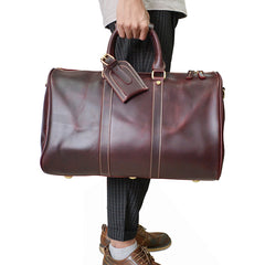 Genuine Leather Mens Cool Weekender Bag Travel Bag Duffle Bags Overnight Bag Holdall Bag for men