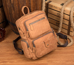 Cool Khaki Mens Leather 13inches Computer Backpack Camel Travel Backpack School Backpack for men