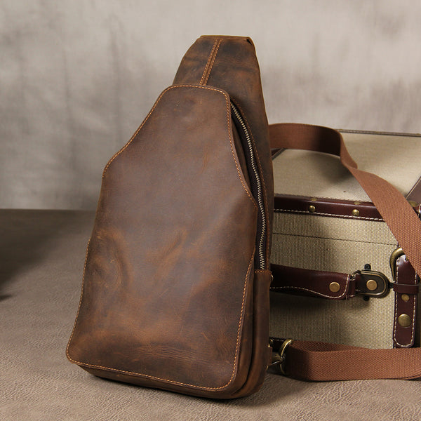 Leather Mens Sling Bag Cool Crossbody Bag Brown Chest Bag for men