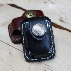 Cool Mens Leather Zippo Lighter Pouches with Loop Biker Zippo lighter case with Clip