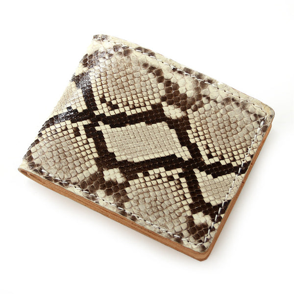 [On Sale] Handmade Cool Mens Snake Skin Small Wallets Slim Short Wallets with Zippers