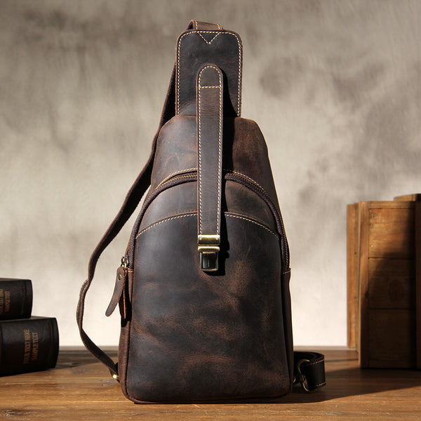 Leather Sling Bag for Men Crossbody Sling Bag Chest Bag for men