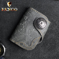Handmade Leather Floral Mens Cool billfold Wallet Card Holder Small Card Slim Wallets for Men