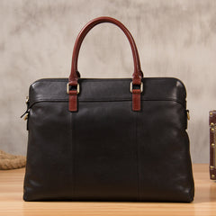Leather Mens Black Briefcase Shoulder Bag Handbag Work Bag Laptop Bag Business Bag for Men