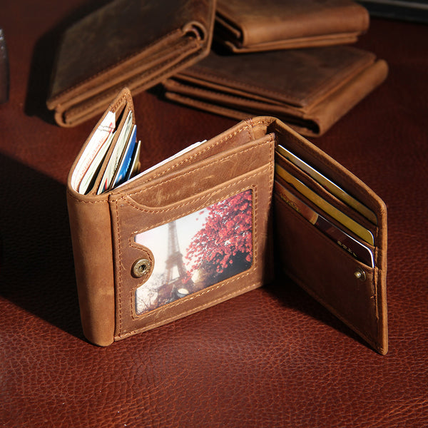 Leather Mens Vintage Leather Wallet Men Small Wallets Trifold for Men