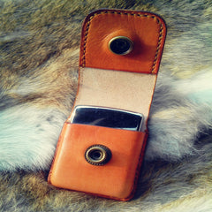 Cool Mens Brown Leather Zippo Lighter Cases with Loop Zippo lighter Holder with clips