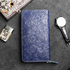 Handmade Leather Floral Mens Cool Travel Long Wallet Card Holder Card Slim Clutch Wallets for Men