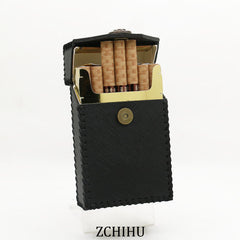 Handmade Cool Leather Womens Black Cigarette Holder Case Cigarette Holder for Women