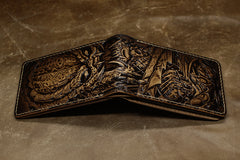 Handmade Leather Tooled Predator License Wallet Mens Card billfold Wallet Cool Leather Wallet Slim Wallet for Men