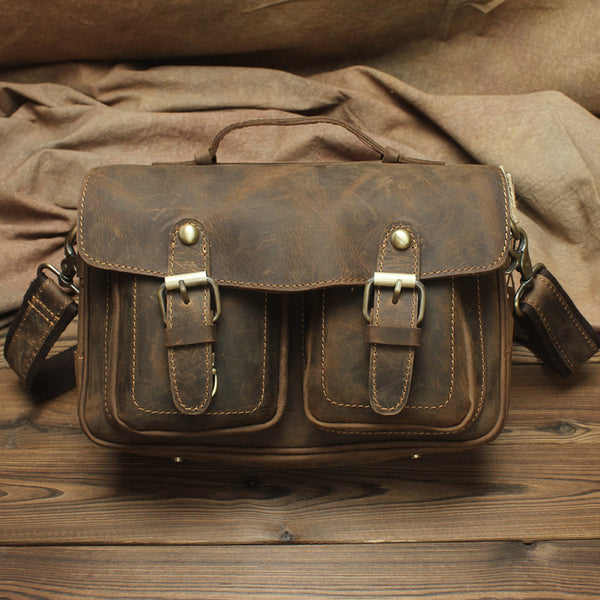 Vintage Mens Leather Camera Bag Small Messenger Bag Cross Body Bag For Men
