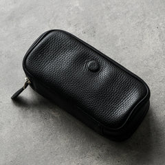 Cool Leather Black Mens Leather 2pcs Tobacco Pipe Case Zipper Tobacco Pipe Case for Men