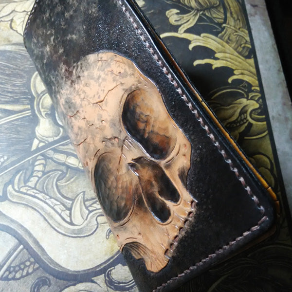 Handmade Leather Skull Tooled Mens Long Wallet Cool Leather Wallet Clutch Wallet for Men