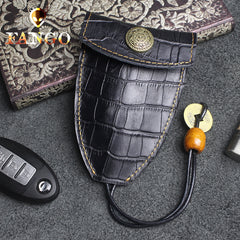 Handmade Leather Floral Mens Cool Car Key Wallet Coin Wallet Pouch Car KeyChain for Men