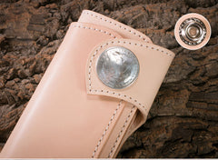 Handmade Mens Cool Beige Leather Chain Wallet Biker Trucker Wallet with Chain