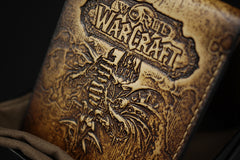 Handmade Leather Tooled World of Warcraft Lich King Mens Short Wallet Cool Leather Wallet Slim Wallet for Men