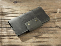 Handmade Leather Mens Travel Wallet Passport Leather Wallet Long Phone Wallets for Men