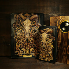 Handmade Leather Tooled CONSTELLATION Mens Cool Long Leather iPad Bag Wristlet Clutch Wallet for Men