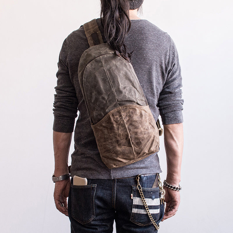 48cbf918ff Next.  79.00. No reviews. Overview:. Design  Canvas Leather Mens Cool Chest  Bag Sling Bag Crossbody .